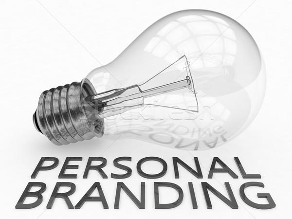 Osobowych branding żarówka biały tekst 3d Zdjęcia stock © Mazirama