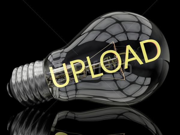 アップロード 電球 黒 文字 3dのレンダリング 実例 ストックフォト © Mazirama