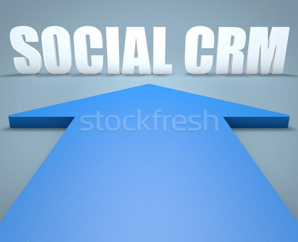 Sociale crm rendering 3d blu arrow punta Foto d'archivio © Mazirama