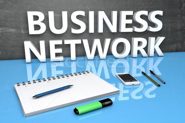 Бизнес-сеть текста доске ноутбук ручках мобильного телефона Сток-фото © Mazirama