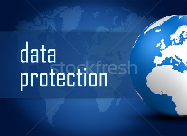 Adatvédelem földgömb kék világtérkép számítógép technológia Stock fotó © Mazirama
