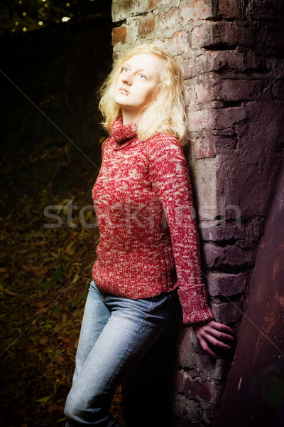 Young blond woman daydreaming at night Stock photo © Mazirama