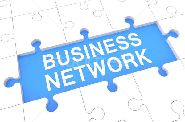 Business network puzzle 3d ilustracja słowo niebieski Zdjęcia stock © Mazirama