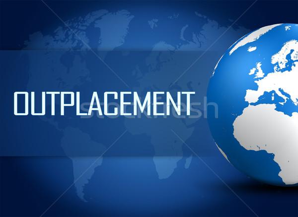 Mundo azul mapa del mundo negocios ordenador fondo Foto stock © Mazirama