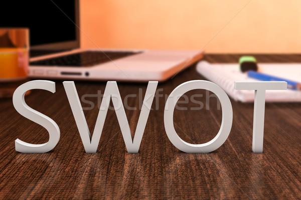 Lehetőségek fenyegetések levelek fából készült asztal laptop számítógép Stock fotó © Mazirama