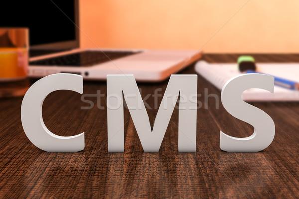 Tartalom vezetőség cms levelek fából készült asztal Stock fotó © Mazirama