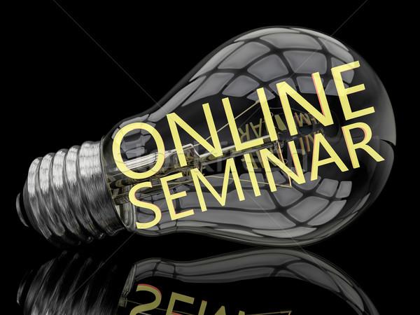 онлайн семинара лампочка черный текста 3d визуализации Сток-фото © Mazirama