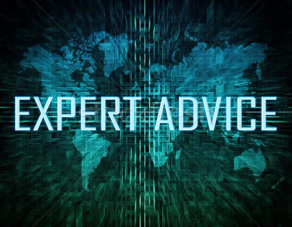 Expert advies tekst groene digitale wereldkaart Stockfoto © Mazirama