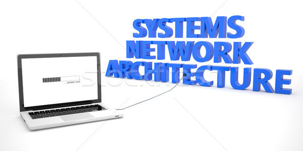 Netwerk architectuur laptop notebook computer woord Stockfoto © Mazirama