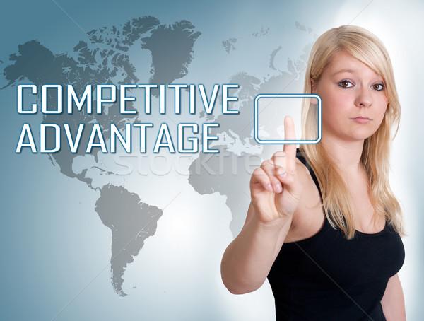Competitivo ventaja prensa digital botón Foto stock © Mazirama