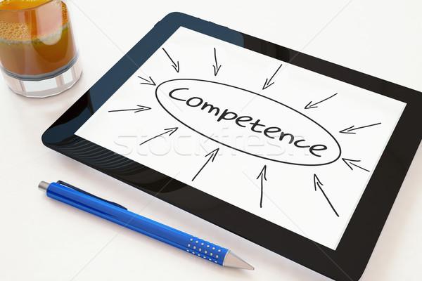 Stock fotó: Kompetencia · szöveg · mobil · táblagép · asztal · 3d · render