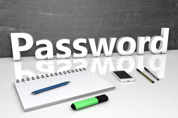 пароль текста доске ноутбук ручках мобильного телефона Сток-фото © Mazirama