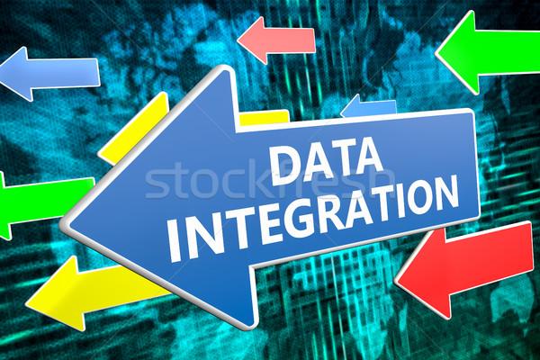 Dados integração texto azul seta voador Foto stock © Mazirama