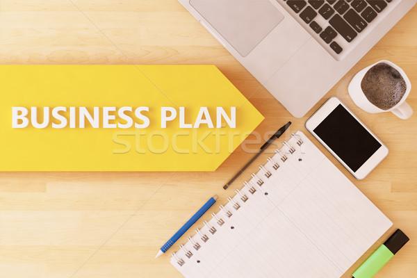 Negocios plan lineal texto flecha cuaderno Foto stock © Mazirama