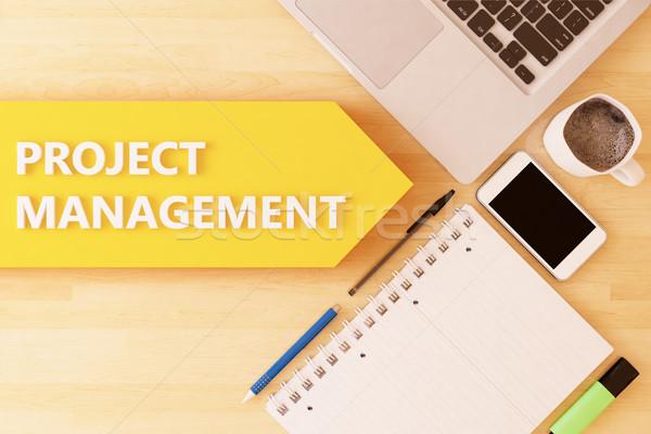 проект управления линейный текста стрелка ноутбук Сток-фото © Mazirama