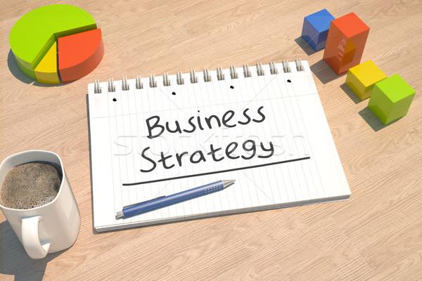 Strategia biznesowa tekst notebooka kubek kawy wykres słupkowy Zdjęcia stock © Mazirama