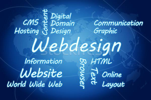 Webdesign szófelhő illusztráció kék világtérkép absztrakt Stock fotó © Mazirama