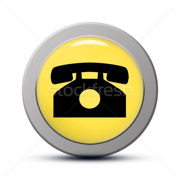 Telefon ikon sarı düğme iş telefon Stok fotoğraf © Mazirama
