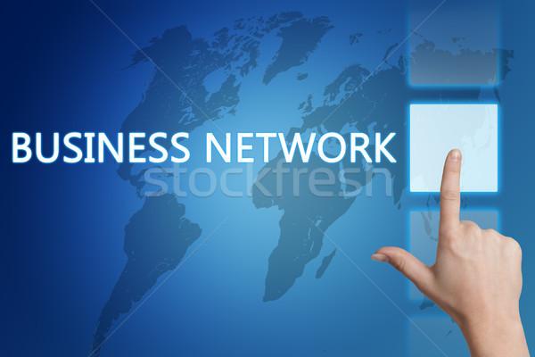Stok fotoğraf: Business · network · iş · el · düğme · dokunmatik · ekran