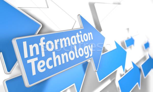 Tecnologia da informação 3d render azul branco voador Foto stock © Mazirama