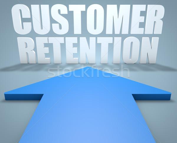 Client rendu 3d bleu flèche pointant affaires Photo stock © Mazirama
