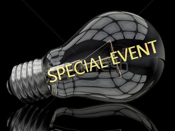 Evento speciale lampadina nero testo rendering 3d illustrazione Foto d'archivio © Mazirama