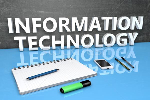Informatika szöveg tábla notebook tollak mobiltelefon Stock fotó © Mazirama