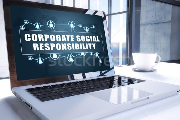 Entreprise sociale responsabilité texte modernes portable Photo stock © Mazirama