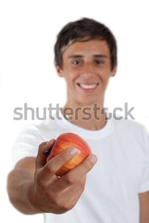 Appel jonge man bruine ogen rode appel hand Stockfoto © Mazirama
