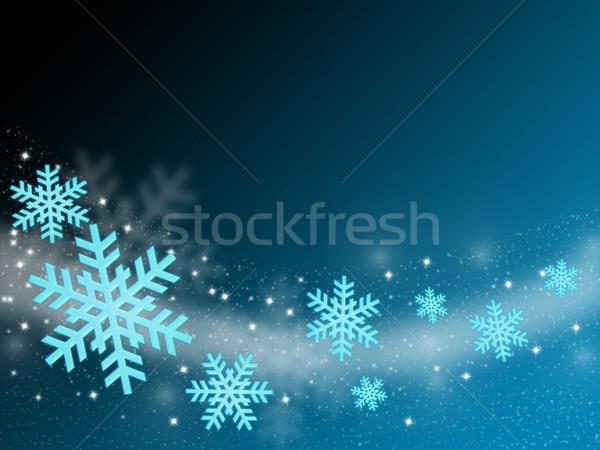 рождество карт Flying снежинка аннотация синий Сток-фото © Mazirama
