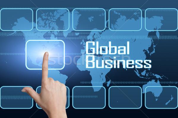 Commerce mondial interface carte du monde bleu affaires argent Photo stock © Mazirama