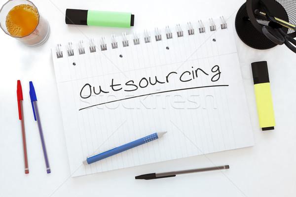 Outsourcing tekst notebook bureau 3d render Stockfoto © Mazirama