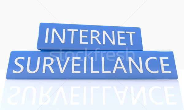 Internet megfigyelés 3d render kék doboz szöveg Stock fotó © Mazirama