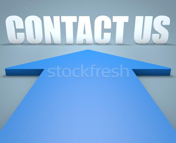 Kapcsolatfelvétel 3d render kék nyíl mutat számítógép Stock fotó © Mazirama
