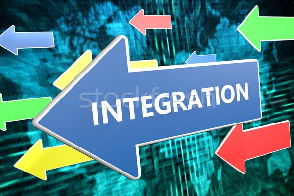 Integráció szöveg kék nyíl repülés zöld Stock fotó © Mazirama