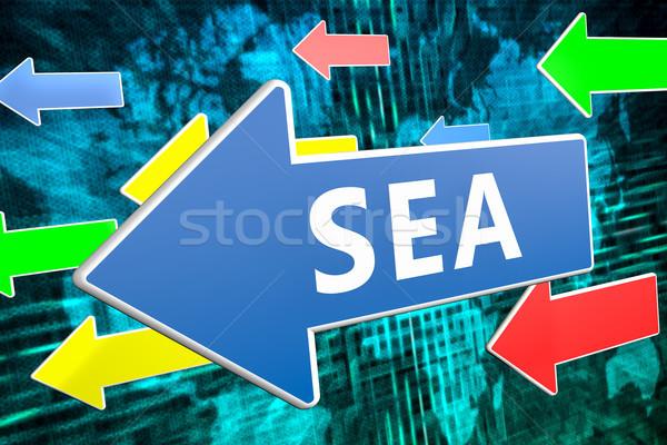 поисковая реклама морем текста синий стрелка Сток-фото © Mazirama