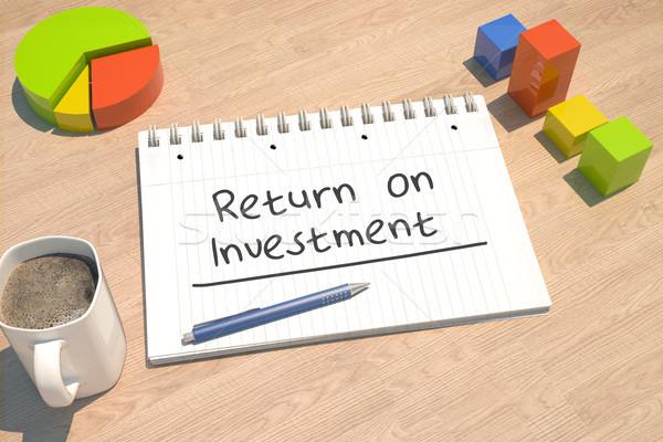 Visszatérés beruházás szöveg notebook kávésbögre oszlopdiagram Stock fotó © Mazirama