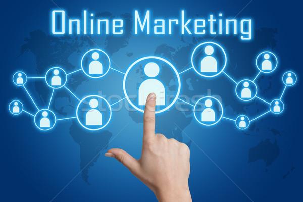 Интернет маркетинг икона женщину стороны синий Сток-фото © Mazirama