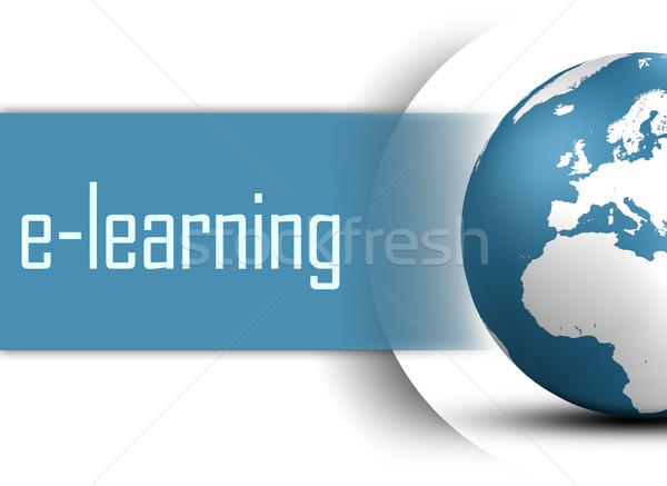 Online oktatás földgömb fehér üzlet diák technológia Stock fotó © Mazirama