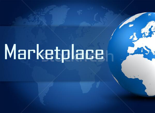 Piactér földgömb kék pénz textúra háttér Stock fotó © Mazirama