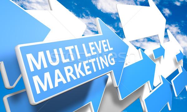 Nivel comercialización 3d azul blanco flechas Foto stock © Mazirama