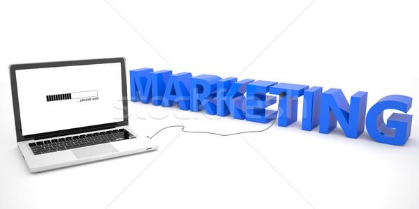 Marketing computador portátil palavra branco 3d render ilustração Foto stock © Mazirama