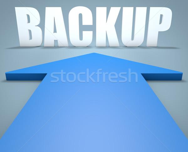 Copia de seguridad 3d azul flecha senalando ordenador Foto stock © Mazirama