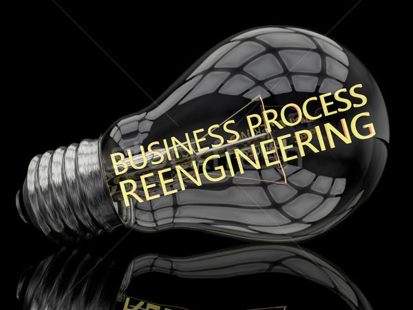 Negocios proceso bombilla negro texto 3d Foto stock © Mazirama