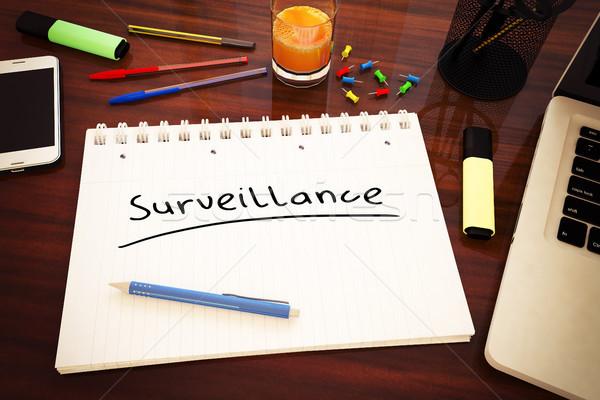 Megfigyelés szöveg kézzel írott notebook asztal 3d render Stock fotó © Mazirama
