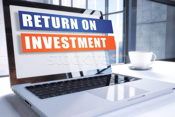 Voltar investimento texto moderno laptop tela Foto stock © Mazirama