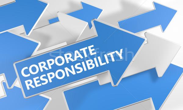 Korporacyjnych odpowiedzialność 3d niebieski biały Zdjęcia stock © Mazirama