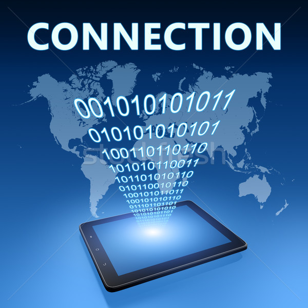 Stockfoto: Verbinding · illustratie · Blauw · computer · technologie