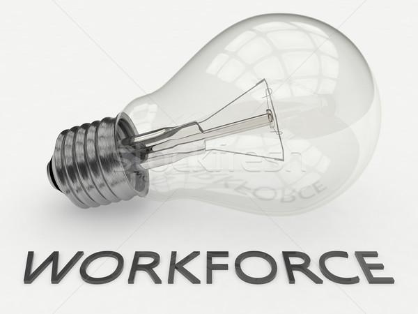 Munkaerő villanykörte fehér szöveg 3d render illusztráció Stock fotó © Mazirama
