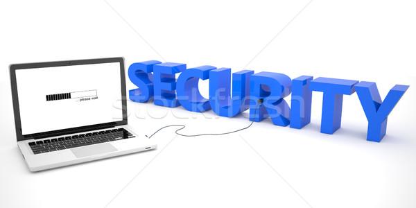 Stok fotoğraf: Güvenlik · dizüstü · bilgisayar · kelime · beyaz · 3d · render · örnek